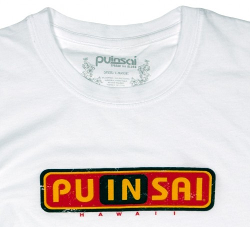 Close up of front logo on White Grunge Traditional Logo Tee